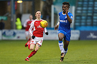 Ashley Hunter of Fleetwood Town and Gabriel Zakuani of Gillingham during the Sky Bet League 1 match between Gillingham and Fleetwood Town at the MEMS Priestfield Stadium, Gillingham, England on 27 January 2018. Photo by David Horn.