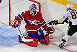 3 February 2009: Montreal Canadiens' goaltender Carey Price stops Pittsburgh Penguins center Sidney Crosby from scoring in the first period at the Bell Centre in Montreal, Quebec, Canada. The Canadiens defeated the Penguins 4-2. ***** Editorial Sales Only ***** Mandatory Photo Credit: Ed Wolfstein Photo