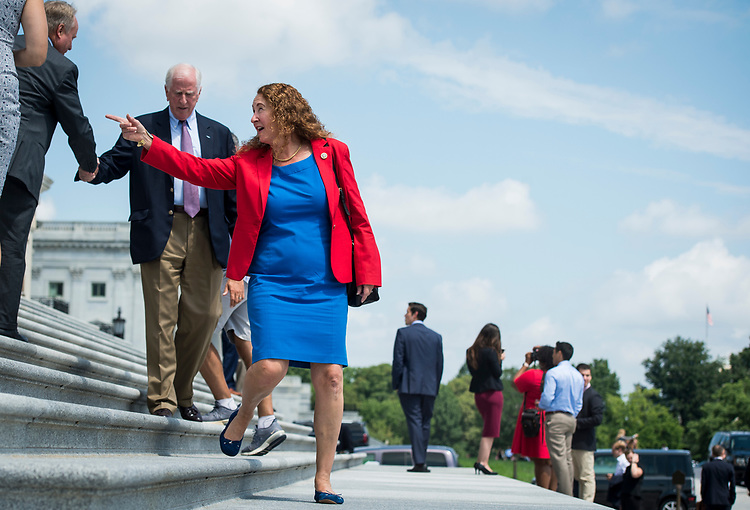 UNITED STATES - JULY 26: Rep. Elizabeth Esty, D-Conn., walks down the House steps following the final votes as the House of Representatives leaves town for their summer recess on Thursday, July 26, 2018. (Photo By Sarah Silbiger/CQ Roll Call)