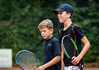 Hilversum, Netherlands, Juli 31, 2019, Tulip Tennis center, National Junior Tennis Championships 12 and 14 years, NJK, Boys Doubles: Tygo Bikker (NED) (R) and Raul Clarijs (NED)<br /> Photo: Tennisimages/Henk Koster