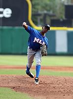 Francisco Lucumi participates in the MLB International Showcase at Estadio Quisqeya on February 22-23, 2017 in Santo Domingo, Dominican Republic.