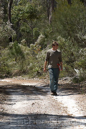 Ryan Phillips, researcher, looking for Hammer Orchids, springtime, near Yallingup, Margaret River area of Western Australia.