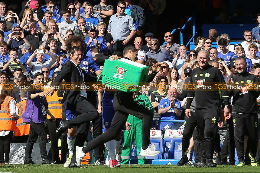 Chelsea Manager, Antonio Conte, reacts after having a bucket of ice water tipped over him by his coaching staff during Chelsea vs Sunderland AFC, Premier League Football at Stamford Bridge on 21st May 2017