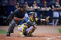 Umpire Kyle Reese and Michigan Wolverines catcher Harrison Wenson (7) wait for the pitch during the second game of a doubleheader against the Canisius College Golden Griffins on February 20, 2016 at Tradition Field in St. Lucie, Florida.  Michigan defeated Canisius 3-0.  (Mike Janes/Four Seam Images)