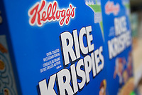 A Kellogg's Rice Krispies cereal box is seen in a Metro grocery store in Quebec city March 4, 2009.