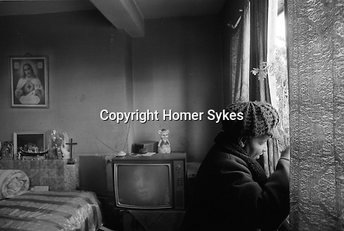 Woman alone in Hoxton high rise flat London 1978.<br />