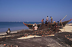 Fishermen on the beach at Colva in Goa in India.