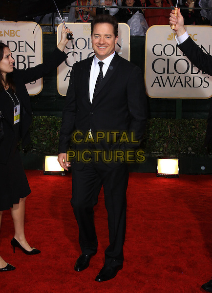 BRENDAN FRASER.67th Golden Globe Awards held Beverly Hilton, Beverly Hills, California, USA..January 17th, 2010.globes full length black suit hands in pocket.CAP/ADM/KB.©Kevan Brooks/Admedia/Capital Pictures