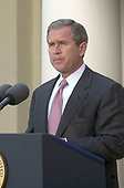 """United States President George W. Bush make a statement in the Rose Garden of the White House in Washington, DC on April 2, 2001 to  requesting the Chinese Government """"do the right thing"""" and release the U.S. spy plane and its crew.<br /> Credit: Ron Sachs / CNP"""