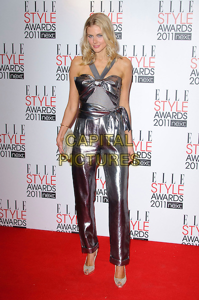 DONNA AIR .2011 ELLE Style Awards at the Grand Connaught Rooms, London, England, UK, February 14th, 2011..full length  silver shiny pantsuit catsuit jumpsuit top trousers clutch bag beige shoes peep toe .CAP/CJ.©Chris Joseph/Capital Pictures.