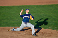 Helena Brewers starting pitcher Scott Serigstad (19) delivers a pitch to the plate against the Ogden Raptors in Pioneer League action at Lindquist Field on July 16, 2016 in Ogden, Utah. Helena defeated Ogden 13-5.(Stephen Smith/Four Seam Images)