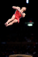 3/1/08 - Photo by John Cheng -  Alexander Artemev of the United States performs on vault at the Tyson American Cup in Madison Square GardenPhoto by John Cheng - Tyson American Cup 2008 in Madison Square Garden, New York.Artemev