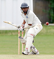 H Ahmed bats for Bessborough during the Middlesex County Cricket League Division Three game between Hornsey and Bessborough at Tivoli Road, Crouch End on Sat Aug 21, 2010.