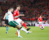 9th October 2017, Cardiff City Stadium, Cardiff, Wales; FIFA World Cup Qualification, Wales versus Republic of Ireland; Shane Duffy (Republic of Ireland) and Hal Robson-Kanu (Wales) challenge for the ball
