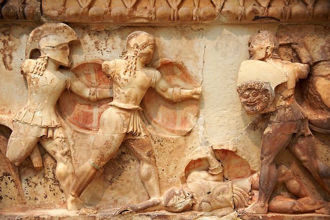 Treasury of Siphnos East Frieze representing scenes from the Trojan War. 525 b.C.  Delphi Archaeological Museum.