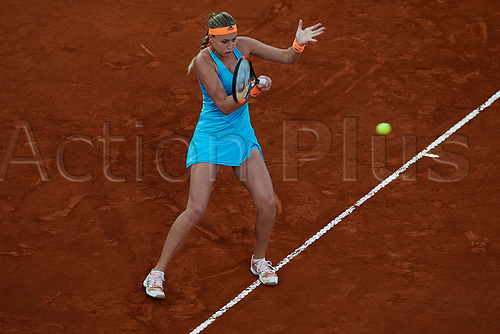 May 12th 2017, Caja Magica, Madrid, Spain; Mutua Madrid Open tennis tournament; Kristina Mladenovic of France in action as she wins against Svetlana Kuznetsova of Russia in 2 sets