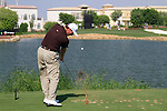 Ernie Els tees off on the par3 6th tee during Day 1 of the Dubai World Championship, Earth Course, Jumeirah Golf Estates, Dubai, 25th November 2010..(Picture Eoin Clarke/www.golffile.ie)