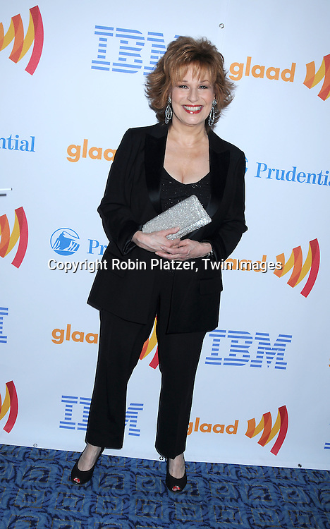 Honoree Joy Behar posing for photographers at The 21st Annual GLAAD Media Awards on March 13, 2010 at The Marriott Marquis Hotel in New York City. The Honorees wereJoy Behar and Cynthia Nixon.