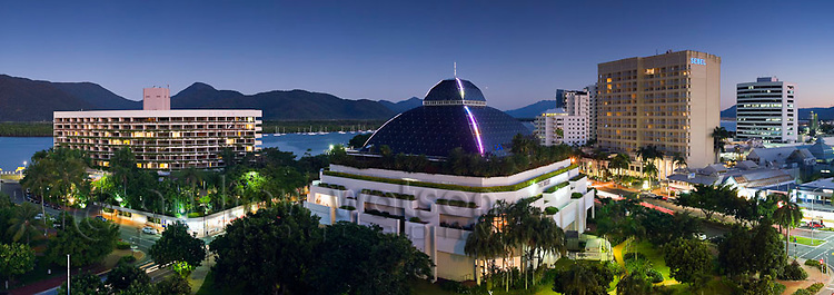Cairns city skyline at dusk, including Hilton Cairns, Pullman Reef Hotel Casino and Sebel Hotel.  Cairns, Queensland, AUSTRALIA
