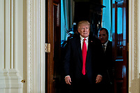 U.S. President Donald Trump arrives to a news conference with Stefan Lofven, Sweden's prime minister, not pictured, in the East Room of the White House in Washington, D.C., U.S., on Tuesday, March 6, 2018. Trump and Lofven are looking to focus on trade and investment between the two countries and ways to achieve shared defense goals. <br /> CAP/MPI/RS<br /> &copy;RS/MPI/Capital Pictures