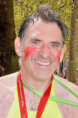 Actor Tony Audenshaw, who plays Bob Hope in Emmerdale, in The Mall, London after completing the Virgin London Marathon on 25 April 2010.