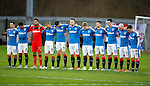 Rangers squad observes a minutes silence in respect to the fans who lost their lives in the Ibrox disasters