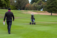 Troy Ropiha with his remote control electric golf caddy. Day two of the Jennian Homes Charles Tour / Brian Green Property Group New Zealand Super 6's at Manawatu Golf Club in Palmerston North, New Zealand on Friday, 6 March 2020. Photo: Dave Lintott / lintottphoto.co.nz