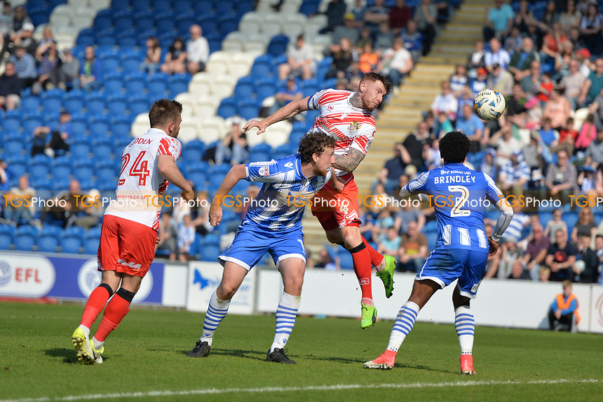 jack king heads wide during Colchester United vs Stevenage, Sky Bet EFL League 2 Football at the Weston Homes Community Stadium on 8th April 2017