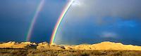Double rainbow over Eastern Sierra Mountains near Bishop, California