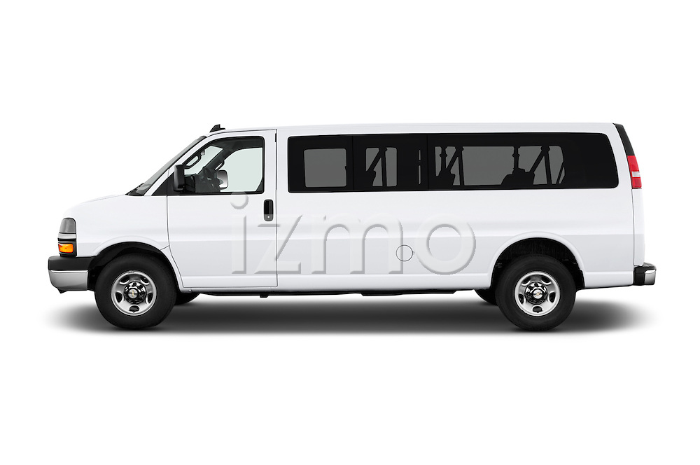 Car Driver side profile view of a 2016 Chevrolet Express 3500-LS 4 Door Passenger Van Side View