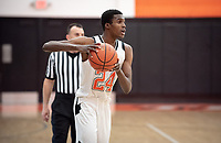 #24 Zach Baines '19<br /> The Occidental College men's basketball team plays against Claremont-Mudd-Scripps on January 9, 2019 in Rush Gym. Oxy lost 63-60, breaking their 13-game winning streak.<br /> (Photo by Marc Campos, Occidental College Photographer)