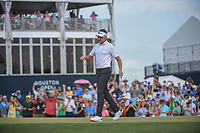 Ian Poulter (GBR) celebrates sinking his putt on 18 during round 4 of the Houston Open, Golf Club of Houston, Houston, Texas. 4/1/2018.<br /> Picture: Golffile | Ken Murray<br /> <br /> <br /> All photo usage must carry mandatory copyright credit (&copy; Golffile | Ken Murray)