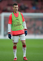 Laurent Koscielny of Arsenal warms up during the Premier League match between Arsenal and Newcastle United at the Emirates Stadium, London, England on 16 December 2017. Photo by Vince  Mignott / PRiME Media Images.