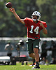 Ryan Fitzpatrick #14, New York Jets quarterback, throws a pass during training camp at Atlantic Health Jets Training Center in Florham Park, NJ on Wednesday, Aug. 17, 2016.