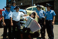 Nashville, Tennessee - June 10, 1977. This photograph was taken of Yvette Horner with the firemen of Nashville, Tennessee. Yvette Horner (born September 22nd, 1922) is a renown French accordionist, whose career has spanned over 70 years, has given thousands of concerts across the world and sold over 30 million records.