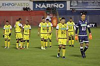 PASTO-COLOMBIA,23 -09-2018.Jugadores de Alianza Petrolera abandonan el campo de juego al terminar el primer tiempo contra el Deportivo Pasto durante partido por la fecha 11 de la Liga Águila II 2018 jugado en el estadio Departamental Libertad de la ciudad de Pasto./ Alianza Petrolera  players leave the field at the end of the first half against Deportivo Pasto during the match for the date 11 of the Aguila League II 2018 played at Departamental Libertad stadium in Pasto city. Photo: VizzorImage/ Leonardo Castro / Contribuidor