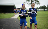teammates/friends Tony Martin (DEU/Etixx-Quickstep) &amp; Marcel Kittel (DEU/Etixx-Quickstep) ahead of the Grand D&eacute;part - Official Teams Presentation in the historic village of Sainte-M&egrave;re-Eglise<br /> <br /> 103rd Tour de France 2016