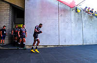Sharks captain Lukhanyo Am leads his team out for the Super Rugby match between the Hurricanes and Sharks at Sky Stadium in Wellington, New Zealand on Saturday, 15 February 2020. Photo: Dave Lintott / lintottphoto.co.nz
