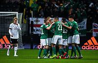 19th November 2019, Frankfurt, Germany; 2020 European Championships qualification, Germany versus Northern Ireland;  Goal celebration for 0-1 for Northern Ireland goalscorer Michael Smith