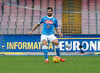 Napoli's Raul Albiol  during the  italian serie a soccer match,between SSC Napoli and Empoli      at  the San  Paolo   stadium in Naples  Italy , January 31, 2016