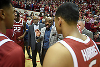 NWA Democrat-Gazette/CHARLIE KAIJO Arkansas Razorbacks head coach Mike Anderson talks to his players before the first half of the NCAA National Invitation Tournament, Saturday, March 23, 2019 at the Simon Skjodt Assembly Hall at the University of Indiana in Bloomington, Ind. The Arkansas Razorbacks fell to the Indiana Hoosiers 63-60.