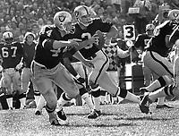 Raiders Daryle Lamonica back to pass, Marv Hubbard blocks..(1971 photo/Ron Riesterer)