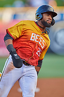 Jo Adell (26) of the Salt Lake Bees hustles to third base during the game against the Oklahoma City Dodgers at Smith's Ballpark on August 1, 2019 in Salt Lake City, Utah. The Bees defeated the Dodgers 14-4. (Stephen Smith/Four Seam Images)