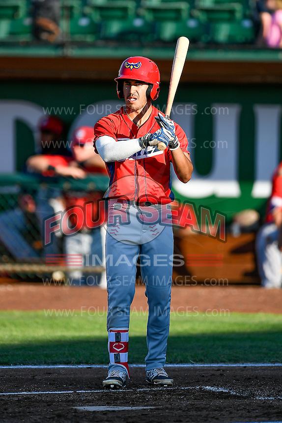 L.J. Kalawaia (5) of the Orem Owlz at bat against the Ogden Raptors in Pioneer League action at Lindquist Field on June 27, 2016 in Ogden, Utah. Orem defeated Ogden 4-3. (Stephen Smith/Four Seam Images)