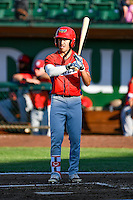 L.J. Kalawaia (5) of the Orem Owlz at bat against the Ogden Raptors in Pioneer League action at Lindquist Field on June 27, 2016 in Ogden, Utah. Orem defeated Ogden 4-3. (Stephen Smith/Four Seam Images)