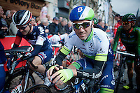 Michael Albasini (SUI/Orica-GreenEDGE) at the start<br /> <br /> 79th Flèche Wallonne 2015