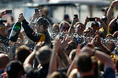 2017 Verizon IndyCar Series<br /> Toyota Grand Prix of Long Beach<br /> Streets of Long Beach, CA USA<br /> Sunday 9 April 2017<br /> James Hinchcliffe, Podium, Champagne <br /> World Copyright: Jake Galstad/LAT Images