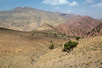 Atlas Mountains, near Tizi N'Tichka Pass, Morocco.  Semi-arid Terrain.