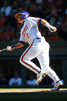 Jason Stolz (Third Baseman) Clemson Tigers player has Rally Stack on head (Photo by Tony Farlow/Four Seam Images)