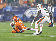 Charlotte, NC - December 2, 2017: Clemson Tigers wide receiver Deon Cain (8) catches a pass during the ACC championship game between Miami and Clemson at Bank of America Stadium in Charlotte, NC.  (Photo by Elliott Brown/Media Images International) Clemson defeated Miami 38-3 for their third consecutive championship title.
